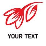 老牌字法,书法 与手拉的红色传染媒介郁金香的词郁金香 温泉沙龙或花店的商标 库存照片