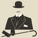 老牌打扮了圆顶硬礼帽的人 免版税库存照片