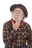 老牛仔认为并且抓颊须 免版税图库摄影
