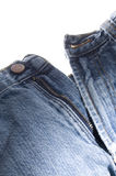 老牛仔布蓝色牛仔裤按钮和拉链 库存图片