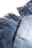 老牛仔布蓝色牛仔裤 库存图片