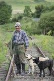 老牧羊人和狗 库存照片