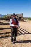 老狂放的西部牛仔字符 免版税库存图片