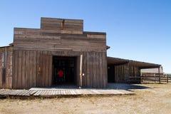 老狂放的西部镇电影布景在亚利桑那 免版税库存照片