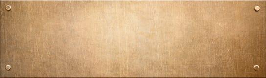老狭窄铜或古铜色金属片与铆钉3d例证 向量例证