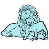 老狮子和幼小狮子 向量例证
