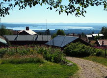老瑞典村庄Fryksas 免版税库存照片