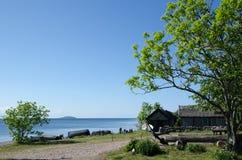 老瑞典渔村 免版税图库摄影