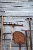 老生锈的传统工具 免版税库存图片
