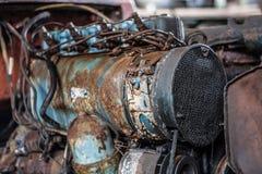老生锈的卡车引擎 库存照片