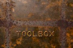老生锈的工具箱背景 免版税库存图片