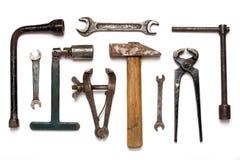 老生锈的技工工具 免版税库存图片