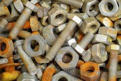 老生锈的螺栓和坚果 库存照片