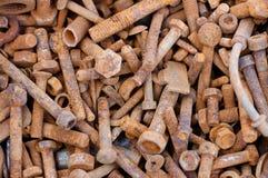 老生锈的螺栓和坚果 免版税图库摄影