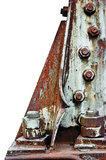 老生锈的螺栓联接电定向塔基础 图库摄影