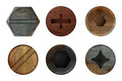 老生锈的螺栓螺丝 硬件铁锈不同的铁工具的金属纹理 传染媒介现实图片 皇族释放例证