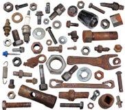 老生锈的螺栓,胡说和机械零件 免版税库存照片