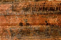 老生锈的金属板 氧化作用铁造成的生锈的表面w 免版税图库摄影