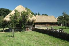 老用木材建造的谷仓在Straznice 库存照片