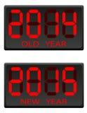 老电子记分牌和新年传染媒介例证 免版税库存照片