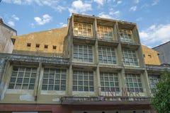 老电影院电影3月门面在利亚内斯,阿斯图里亚斯,西班牙 免版税库存照片