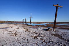 老电源杆, Salton海运 库存照片