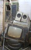 老电视、音乐播放器和报告人 免版税库存照片