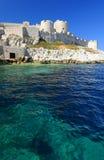 老白色石沿海城堡 库存照片