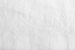 老白色被弄皱的纸背景纹理 免版税库存照片