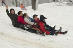 更老的滑雪者 库存图片
