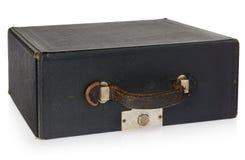 老皮革古色古香的黑盒 有把柄和lo的手提箱 免版税库存照片