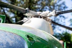 老直升机驾驶舱细节选择聚焦 库存图片