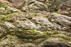 老石头,岩石 背景 是大厦以后的山山风景 库存照片