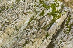 老石头,岩石 背景 是大厦以后的山山风景 库存图片
