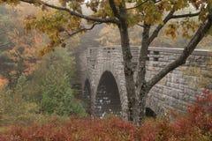 老石桥梁在阿科底亚国家公园在缅因 免版税库存图片