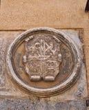 老石纹章学盾,塞戈维亚,西班牙 免版税库存图片