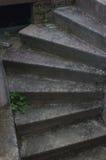 老石黑暗的台阶 螺旋形楼梯 免版税图库摄影
