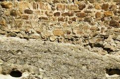 老石头纹理与水泥一起的 库存图片