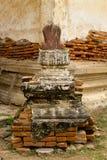 老砖塔,古老老塔砖墙在泰国 免版税库存照片