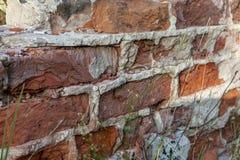 老砖墙细节从被放弃的大厦的 老砖背景 库存照片