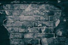 老砖墙阴沉的背景有跌下的膏药作为f 免版税库存照片