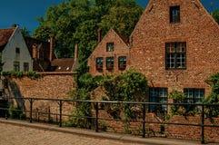 老砖房子和绿叶在运河` s在布鲁日渐近 免版税库存图片