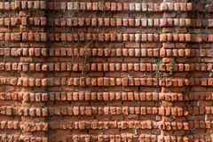 老砖背景、纹理和样式 大红砖墙壁 免版税图库摄影