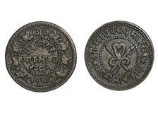 老硬币印度 库存照片