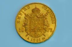 老硬币法国金子 免版税库存照片