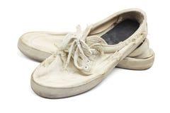 老穿的帆布鞋 库存照片