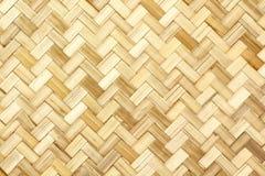 老竹编织的样式,背景的被编织的藤条席子纹理 免版税库存图片