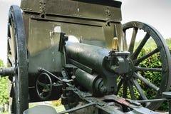 老第一次世界大战武器 谢德- Putilov领域大炮, 75mm FF口径 模型1902/36 罗马尼亚的军队预先使用它 免版税库存图片