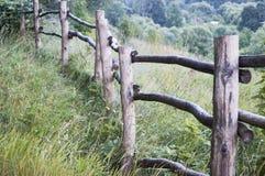 老篱芭在村庄在夏天放牧在阳光下 免版税库存图片