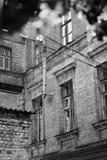 老精神病学的收容所的大厦;老影片作用 库存图片